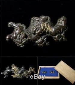 MNK17 FINE Japanese Antique Brass Shishi Menuki withbox #kanagu sword Tsuba
