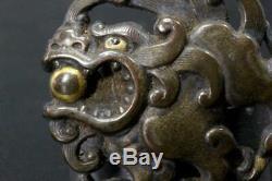 MNK66 FINE Japanese Antique Bronze Dragon Tiger Menuki Gold inlaid #sword Tsuba
