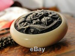 Meiji Japanese Tobacco Pouch NETSUKE Mixed Metal STERLING Shakudo DRAGON PIN