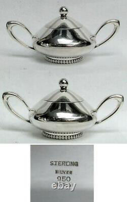 Mid-century Modern Japanese Miyata 950 Fine Silver 4 Piece Coffee & Tea Set