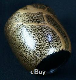 Natsume fine Japanese lacquered wood tea caddy 1900 Maki-e hand craft