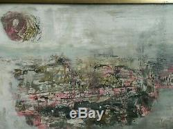 OLD antique Mid Century ABSTRACT Fine Art OIL PAINTING Japanese or Chinese arts