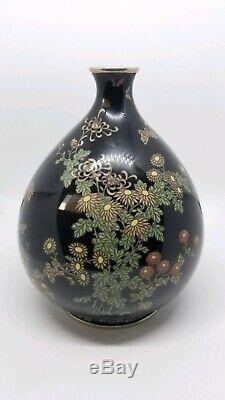 Perfect. Signed. Silver wired and mounted Japanese Cloisonne vase. Very fine