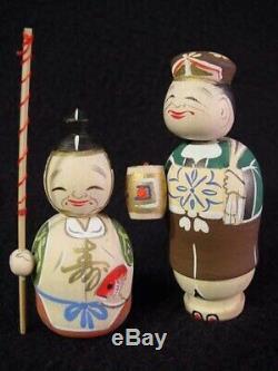 RARE 7 Lucky Gods Nodder Kokeshi Doll Set Fine Detail Old Stock 1960's Mint