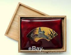 RARE & FINE Japanese Maki-e/Sempoh LACQUER bird KINGFISHER cigarette CASE-box