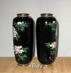 RARE Fine Pair Meiji Period Japanese Silver Wire Cloisonne Enamel Vases- Peonies