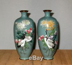 RARE Fine Pair Meiji Period Japanese Silver Wire Cloisonne Enamel Vases -Signed