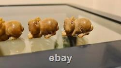 RARE SET of 4 ANTIQUE FINELY CARVED JAPANESE FIGURAL Rabbit OJIME BEAD FOR INRO