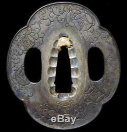 RARE Shibuichi Fine Carving TANTO TSUBA 18-19thC Japanese Edo Antique Koshirae
