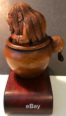 Rare, Antique Finely Carved Japanese Boxwood Haunted Face Tonkotsu-tobacco Box