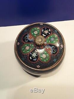 Rare Fine Antique Japanese Meiji Cloisonne Tobacco Jar