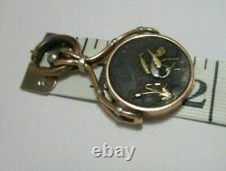 Rare Vintage Japanese Shakudo Crane Bird Meiji Locket Pendant