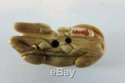 Rare estate Old Fine quality Vintage Japanese Carved signed Netsuke BULL OX