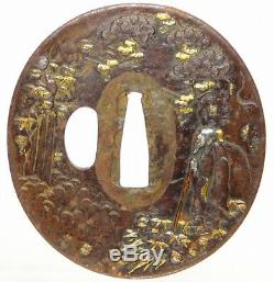 SUPERB Very fine KATANA TSUBA 18-19thC Japanese Edo Antique for Koshirae f343