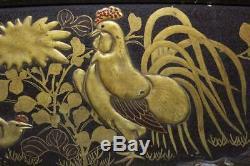 SWR172 FINE Japanese wooden Chicken Gold taka-makie Sword Rack stand