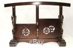 SWR179 FINE Japanese Wooden Openwork sword Rack stand (Large) #karaki