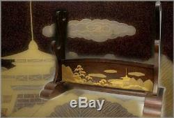 SWR192 FINE Japanese wooden Landscape painting Gold makie Sword Rack stand