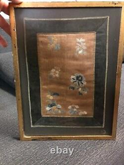 VERY FINE Antique Japanese silk embroidery / embroidered panel of Flowers 11.5
