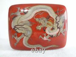 VERY FINE JAPANESE CLOISONNE DRAGON BOX & LID With SILVER WIRE AND SILVER MOUNTS