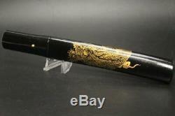 VG121 FINE Japanese Quite short sword & wooden black lacquer Dragon case# tsuba