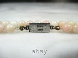 VTG JAPANESE NATURAL ANGEL SKIN CORAL BEADED NECKLACE SILVER CLASP 24 1/2 25.2g