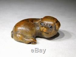 Veri Fine Cute Puppy NETSUKE Boxwood Carving 19thC Japanese Original Antique Edo