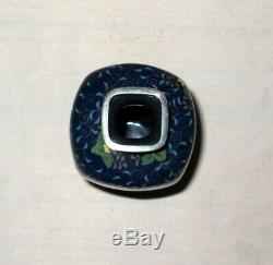 Very Fine Japanese Cloisonne Silver Wire Enamel Panel Vase By Ando Silver Rims