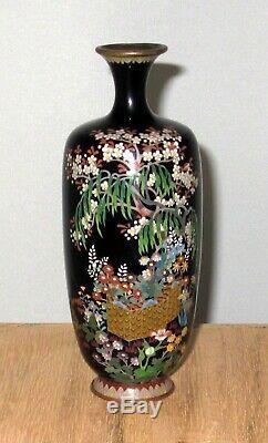 Very Fine Japanese Cloisonne Silver Wire Enamel Vase with Garden Scene