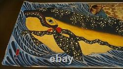 Very Fine Large Japanese Hand Painting Samurai and a Whale on Paper