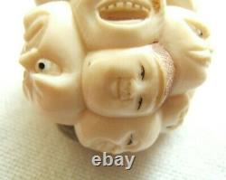 Very Fine Meiji Japanese Carving Multi-faces