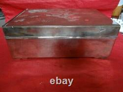 Very Fine Vintage Antique Japanese Sterling Silver Mixed Metal Cigar Box Signed