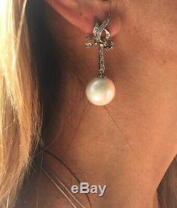 Vintage Antique Palladium Japanese Pearl 0.45 Carat Diamond Dangle Earrings