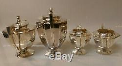 Vintage Japanese 950 Fine Silver 4 Piece Tea Set