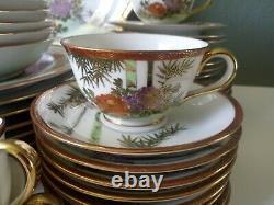 Vintage Kutani Japanese Fine Porcelain Dinner Set Service For 8 59 Pieces