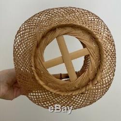 Vintage antique Japanese Ikebana fine woven Lantern decor basket Japan