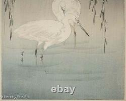 Watanabe Seitei Wading Egrets by Willow Tree Japanese Woodblock, Framed & Fine